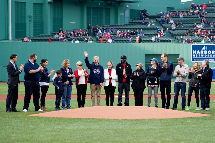 All of the Neighborhood Night honorees on the field before the game
