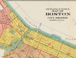 """Detail. G.W. Bromley & Co.. """"Outline & index map of Boston city proper."""" Map. 1938. Image courtesy of the Norman B. Leventhal Map & Education Center at the Boston Public Library. For the full map, please see https://collections.leventhalmap.org/search/commonwealth:1257c4435"""