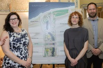 Karen Mauney-Brodek from Emerald Necklace Conservancy and Marie Law Adams and Dan Adams of Landing Studio; photo courtesy of the Boston Sun
