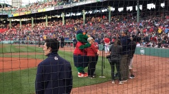 """Pam Beale cheers the Red Sox to """"play ball!"""""""